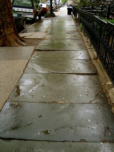 Wet pavement reminds me of being 5 years old and walking to school