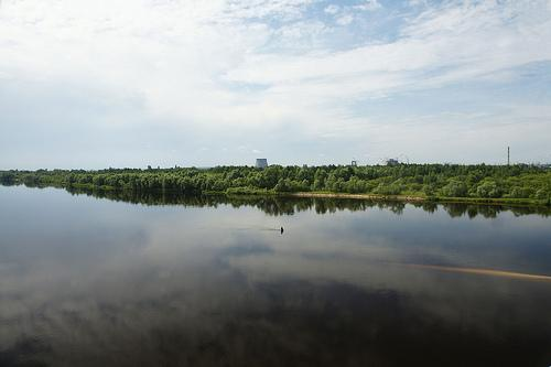 The Prypiat River and a part of the Chernobyl NPP
