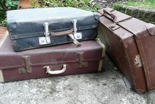 old suitcases, old clothes