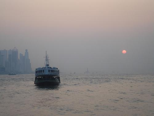 The sun and the ferry