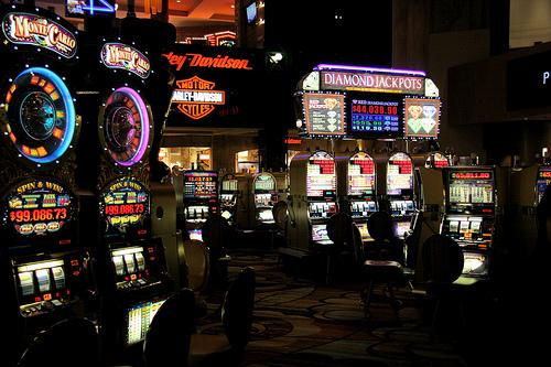 Slot machines inside New York New York hotel