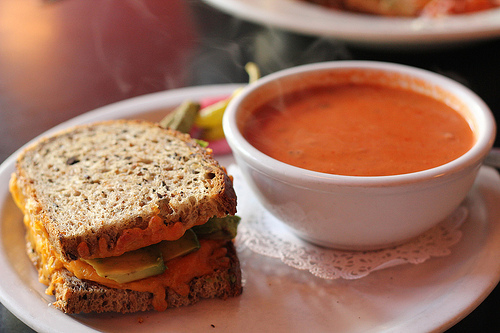Grilled cheese w/ avocado, tomato fennel soup