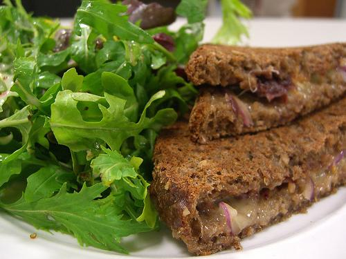 Toasted Cheese, Onion and Sour Cherry Chutney Sandwich with Salad